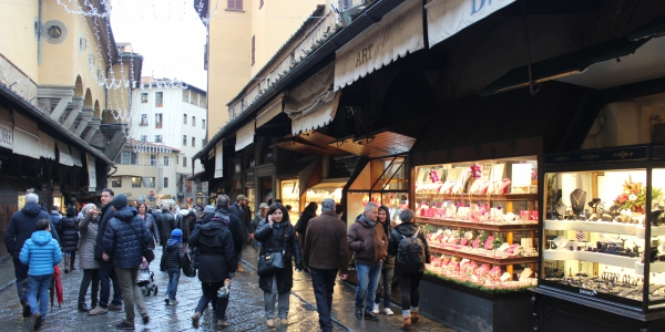 Shops on Ponte Vecchio bridge in Florence