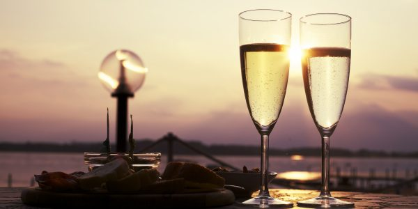 Prosecco quality sparkling white wine with aperitif in Italy