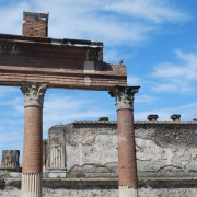 Columnar ruins in Pompeii