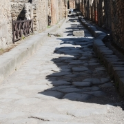 Historic remains of ruins in Pompeii