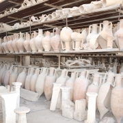 Pots and vessels found in the ruins of Pompeii