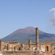 Ruins below the volcano Vesuvius in Pompeii